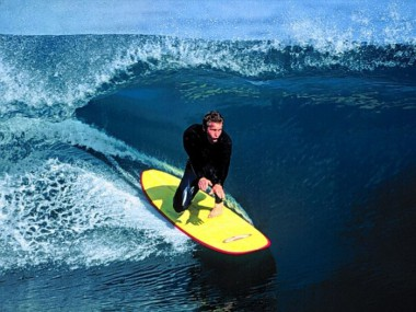 surfing on a yellow board